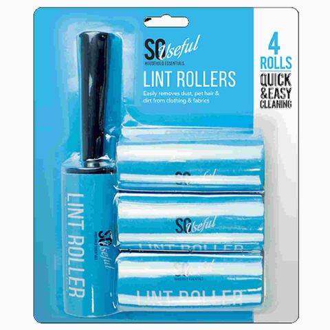 Pack 4 Sticky Pet Hair Fluff & Dust Remover Lint Rollers